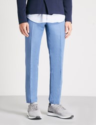Slowear Slim Fit Tapered Linen And Cotton Blend Chinos Blue