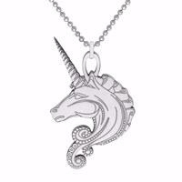 Cartergore Silver Unicorn Pendant Necklace