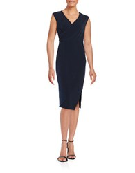 T Tahari Dorinda Surplice Sheath Dress Navy