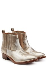 Golden Goose Metallic Leather Cowboy Boots Silver