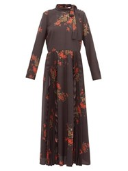 Red Valentino Redvalentino Floral Print Pussy Bow Crepe Dress Black Multi