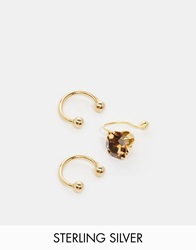 Asos Gold Plated Sterling Silver Smoked Topaz Ear Cuff Pack