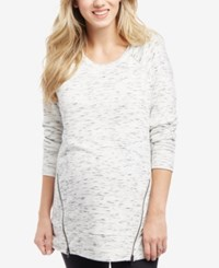 Motherhood Maternity Zip Sweatshirt White