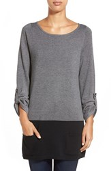 Women's Caslon Knit Tunic Grey Black Colorblock