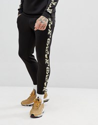 Sik Silk Siksilk Cropped Jogger In Back With Baroque Side Stripe Black