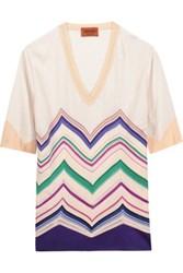 Missoni Crochet Knit Cotton Blend Top Multi