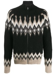 Laneus Brush Knit Zipped Cardigan Black