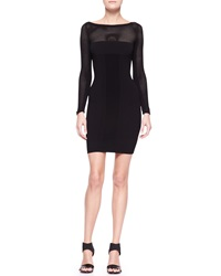Versace Mesh Yoke Long Sleeve Knit Sheath Dress Black