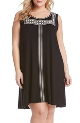 Plus Size Women's Karen Kane Embroidered Sleeveless Trapeze Dress