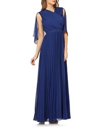 Kay Unger New York Pleated Chiffon Gown W Capelet Navy