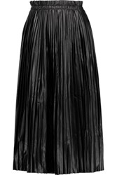 Maison Martin Margiela Mm6 Pleated Faux Leather Midi Skirt Black