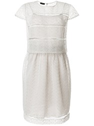 Emporio Armani Sheer Broderie Anglaise Dress Grey