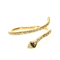 Ileana Makri 18Kt Gold Small Python Ring With White And Green Diamonds Yellow Gold