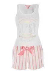 Lipsy Dream In Diamonds Vest And Striped Short Pj Set White
