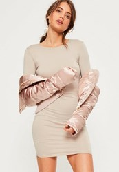 Missguided Nude Jersey Bodycon Mini Dress Taupe