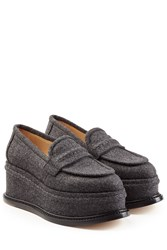 Maison Martin Margiela Maison Margiela Platform Loafers With Leather And Wool Grey