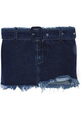 Marques' Almeida Belted Frayed Denim Mini Skirt Dark Denim