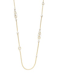 Majorica 8Mm 12Mm White Round Pearl Long Chain Necklace Gold White