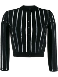 Alexander Mcqueen Sheer Panelled Knitted Cardigan Black