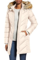 Larry Levine Women's Faux Fur Trim Hooded Jacket Parchment