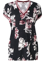 I'm Isola Marras Printed V Neck T Shirt Women Cotton M Black