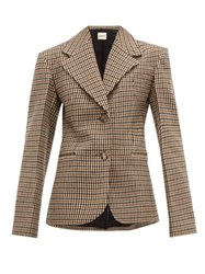 Khaite Oversized Checked Wool Blend Blazer Brown Multi