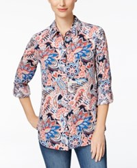 Charter Club Paisley Print Roll Tab Shirt Only At Macy's Intrepid Blue Combo