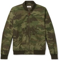 J.Crew Wallace And Barnes Camouflage Print Cotton Ripstop Bomber Jacket Army Green