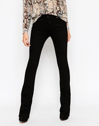 Asos Baby Kick Flare Jeans In Clean Black With Pressed Crease