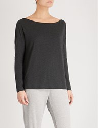 The White Company Off Shoulder Jersey Top Darkcharcmarl