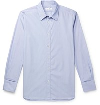 The Row Keith Striped Cotton Shirt Blue