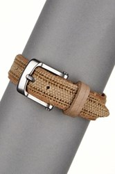 John Varvatos Leather Buckle Bracelet Beige