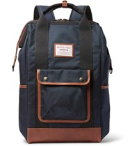 Master Piece Gabatte Leather Trimmed Cordura Backpack Navy
