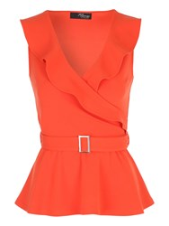 Jane Norman Belted Peplum Wrap Top Orange