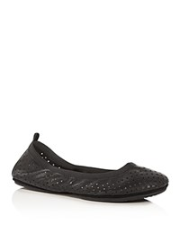 Yosi Samra Samara Star Perforated Foldable Ballet Flats Black