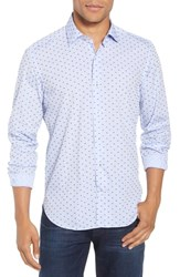 Culturata Trim Fit Print Sport Shirt Blue