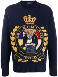 Ralph Lauren Logo Embroidered Sweater Blue