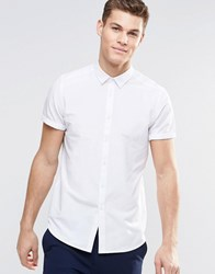 Asos Regular Fit Shirt In White With Short Sleeves White