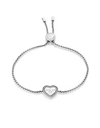 Michael Kors Heritage Stainless Heart Bracelet W Crystals Silver