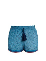 Talitha Printed Cotton And Silk Blend Shorts Blue Multi