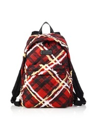 Marc By Marc Jacobs Crosby Quilted Plaid Nylon Backpack Red Multi