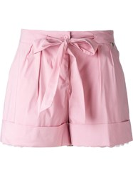 Twin Set Scalloped Detail Layered Shorts Pink And Purple