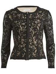 Gina Bacconi Lace Jacket With Faux Leather Trim Black