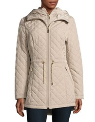 Laundry By Shelli Segal Quilted Zipped Hooded Jacket Taupe