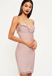 Missguided Pink Bandage Floral Trim Bodycon Dress Mauve