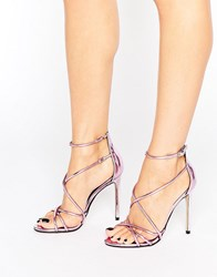 Office Spindle Pink Mirror Strappy Heeled Sandals Pink Mirror Pu