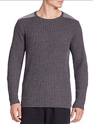 Ovadia And Sons Cable Knit Wool Sweater Grey