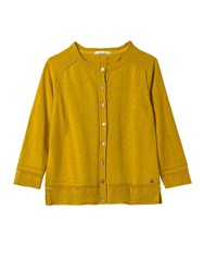 White Stuff Palm Cotton Button Cardi Yellow