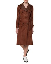Akris Suede And Leather Double Breasted Trench Coat Bronze