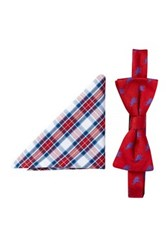 Alara Silk Taft Red And Blue Elephant Bow Tie And Pocket Square Set